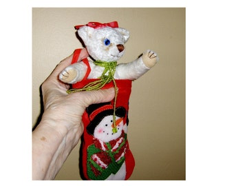 Collectable Holiday Teddy in a stocking, jointed, viscose, glass eyes, OOAK hand sewn