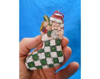 Wood Folk Art Santa Claus Christmas Tree Ornament #14074