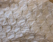 "Antique Silver Pearl Embroidered Diamond White Silk Dupioni Fabric 42"" wide by 1 yard"