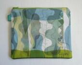 Original design hand sewn blue green zipper bag