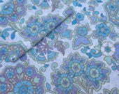 1 of 4 Vintage Poly Cotton Flat Sheets Blue Florals