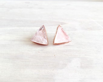 Rose Gold Oxidized Earrings with Raw Quartz Stones