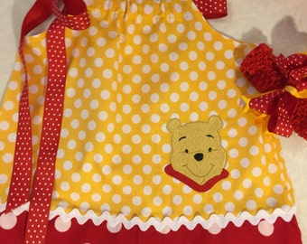 Pooh bear winnie the pooh  bear girls dress pillowcase dress embroidered with choice of size up to 3t and hair bow headband