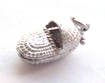 Baby Basket with Baby Inside Mechanical Charm Sterling Silver
