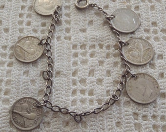 Vintage Coin Bracelet New Zealand 1930s & 1940s George V, George VI, Needs Closure Ring