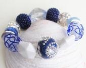 My Blue Heaven Diva Stretch Bracelet - Variety of Blue Czech Beads - Feminine and Classy - Work Attire - Denim Friendly - Gift - Chic Diva