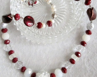 RUBY BABY Diva Necklace - WOWZER - Dark Red Alabaster Faceted Glass Beads - Czech Glass Mix - Equals - Ruby Baby - Classy - Chic - Versatile