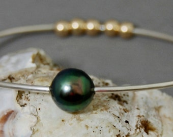 Eirian - Tahitian Pearl Sterling Silver bangle, gift idea for her, fashion, stacking bangle, wedding, pearl jewelry, bracelet, woman, youth