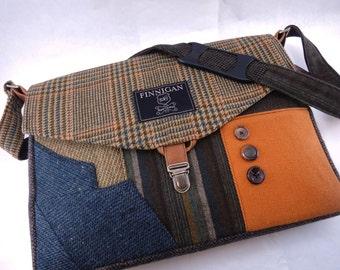 Womens Messenger Bag, Womens laptop Bag , Messenger bag Laptop Sleeve, tote bag, Recycled Suit Coat, Upcycled bag