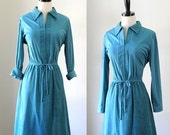 Vintage 1970s Dress 70s Dress Womens Day Dress Turquoise Dress 1970s Clothing Suede Dress Size Small Medium