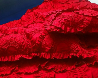 """scarlet red cal king size ruffled quilted bedspread with 2 pillows in size 114""""x120"""" and 20""""X36"""",gift,bedding collection"""