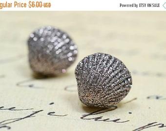 25% OFF SALE Mauve Seashell Earrings, Sparkly Sea Shell Earrings, Nautical Jewelry, Glitter Stud Earrings, Beach Jewelry Cottage Chic, Brown