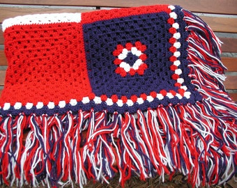 Crochet Afghan, Patriotic Blanket, Red White and Blue, Independence Day, USA Throw Blanket, Crochet Fringe Blanket