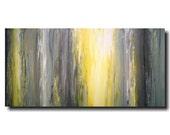Original Large Abstract painting - 24 X 48 - Artist JMJartstudio-Fading Away-Wall art-wall decor -Gray painting-Oil painting