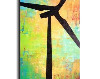 Original Large Abstract painting - 18 X 36- by Artist JMJartstudio-renewed -Wall art- Wind Turbine-Xl painting