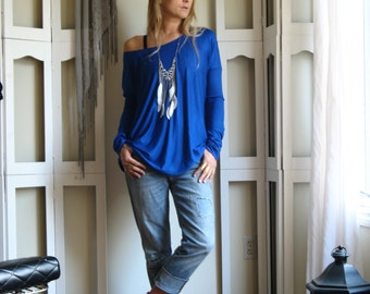 Off Shoulder Sweater OverSize Tee Long Sleeved Tunic Boxy Top Tunic - Rayon Spandex Jersey (More Colours) XSmall - XLarge