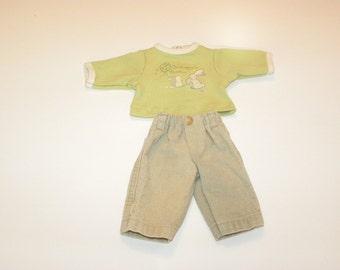 Tan Corduroy Pants and Pale Green Tshirt - 14 - 15 inch boy doll clothes
