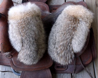 Coyote fur mittens handmade small with purple fleece liner