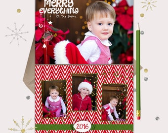 Merry Everything Christmas Card Photo - 4 photo - Red & Green Chevron -- FUN