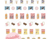 Printable JUNK FOOD planner stickers!-Digital File Instant Download-shower, pizza, soda, ice cream, crackers, cookies, fries, erin condoner