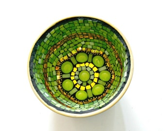 Green Apple Mosaic Bowl, Stained Glass and Gold Mirror - 5.5 x 3.5 Inches