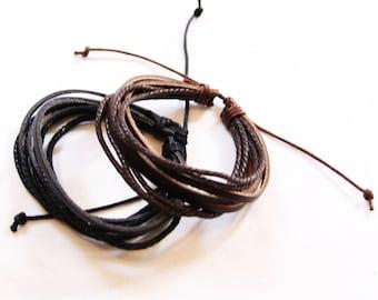 Leather Cuff  Bracelet Natural (Black Brown) B001A