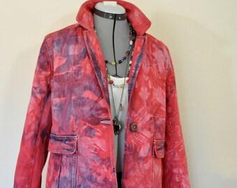 "Red PL Large Denim JACKET - Scarlett Red Dyed Upcycled Caribbean Joe Denim Blazer Jacket - Adult Women Size Petite Large (42"" chest)"