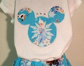 "Disney's Frozen Elsa ""Crystal Snowflakes"" twirly skirt & shirt set perfect for Disney, birthday parties, and photo ops"