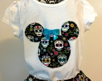 Day of the Dead Sugar Skulls twirly skirt & shirt set, perfect for Disney and Halloween