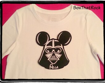 Personalized Darth Vader Mickey Mouse inspired t-shirt for Men and Women - you pick shirt size & color - can fit up to 9 letters