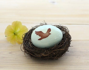Personalized egg, new mother gift,  baby announcement, bird nest