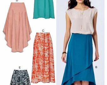 Mock Wrap Skirt Pattern, High Low Skirt Pattern, McCall's Sewing Pattern 7363