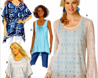 Misses' Tunic Top Pattern, Pullover Tunic Top Pattern, Butterick Sewing Pattern 6173