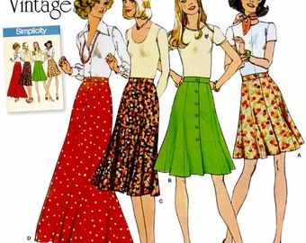 Vintage Button Front Skirts Pattern, 1970's Button Front Skirt Pattern, Simplicity Sewing Pattern 8019