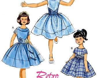 Girls' Sunday Dress Pattern, Little Girls' Sunday Dress Pattern, Girls' Retro Dress Pattern, Butterick Sewing Pattern 6315