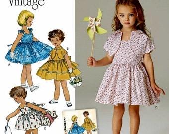 Little Girls Vintage Sundress Pattern, Child's Dress and Lined Jacket Vintage 1950's Pattern, Sz 3 to 8, Simplicity Sewing Pattern 8103