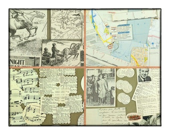 Vintage scrapbooking pack - 83 cutouts and die cuts - childrens books - old maps - cookery pictures - a vintage advert - and more.