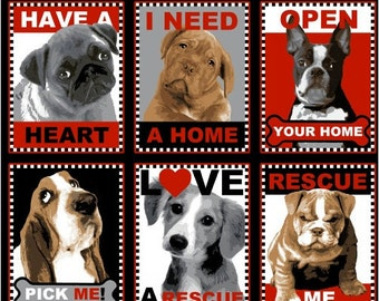Rescue Dogs Fabric 1Yd