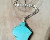 Large Reconstituted Turquoise Pendant on Antique Bronze Or Silver Chain