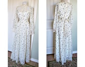 Vintage 70s Victorian Gunne Sax - lace high collar - beautiful condition