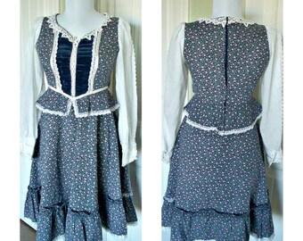 Vintage 70s Gunne sax velvet corset dress - vintage dress, hippie dress,festival dress,boho dress