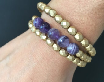 Beaded bracelets, faceted matte gold czech glass and purple amethyst gemstone beads