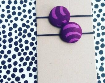Marimekko Purple Fabric Hair Elastic Buttons