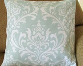 """Pale Aqua and Ivory Pillow Cover, 18 Inch Square, Damask Print, Envelope Style Cotton Pillow Cover, """"Aqua Damask"""""""