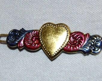 Vintage / Gold / Heart / Hair Clip / Metal / Enamel /  Barrette / old jewelry / jewellery