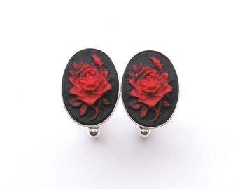 Gothic Rose Cufflinks in Black and Red, Red Rose, Black Rose, Wedding Cufflinks, Silver Cufflinks, Cameo Cufflinks