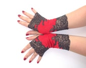 """Lace fingerless gloves """"Red and black"""" of stretch lace"""