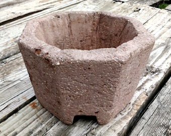 Hypertufa Planter. Footed Octagon Container in Taupe - brown grey color. Concrete Planter Great for Succulents and More. Handmade!