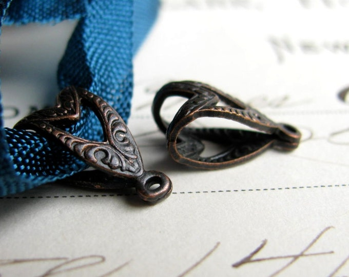 Small, etched, decorative bail, folded filigree, 12mm black antiqued brass bail (4 bails) link, pendant holder, necklace finding