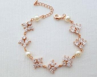 Rose Gold Bracelet Crystal Pearl Bridal Bracelet Rose Gold Wedding Jewelry Crystal Wedding Bracelet, Rosa